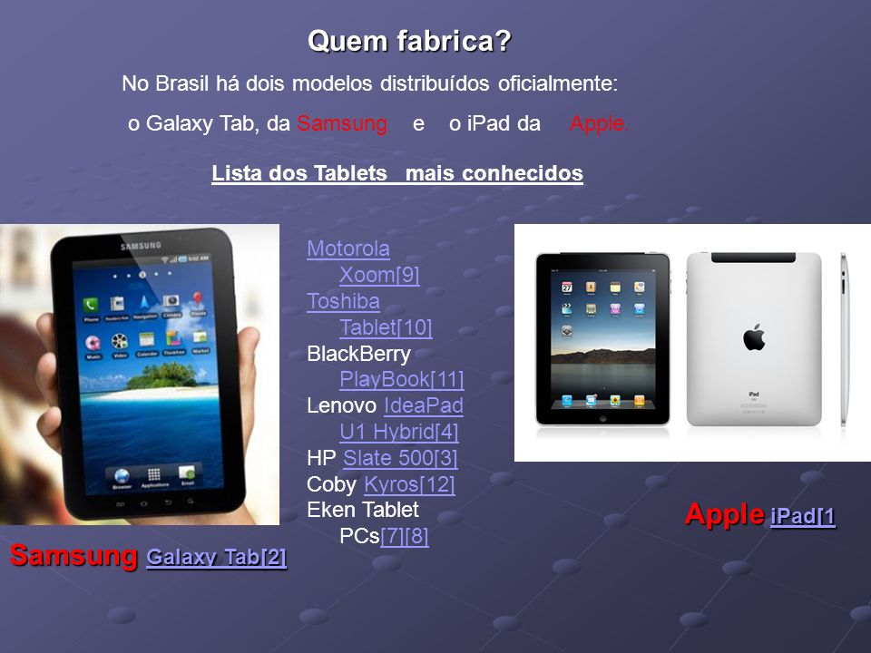 Quem fabrica Apple iPad[1 Samsung Galaxy Tab[2]